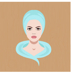 with a face of girl with towel vector image vector image