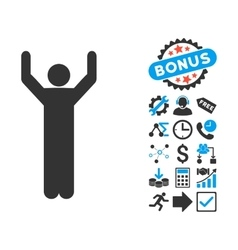 Hands up pose flat icon with bonus vector