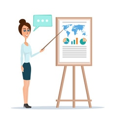 Business woman pointing at a chart board isolated vector