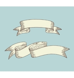 Hand drawing ribbon in engraving old vintage style vector