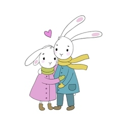 A couple of cute rabbits funny animals vector