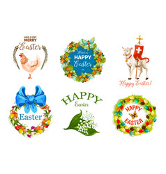 easter day cartoon label set for holiday design vector image