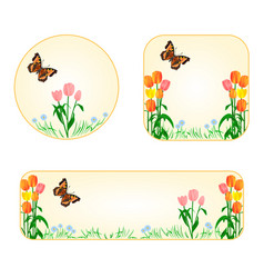 Banner and buttons tulips with butterfly vector