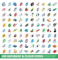 100 database and cloud icons set isometric style vector image