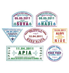Pacific passport stamps vector
