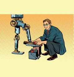 businessman cleans shoes robot vector image