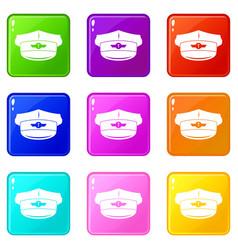 Cap taxi driver icons 9 set vector