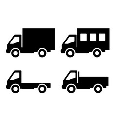 Set of silhouettes the cargo trucks vector