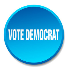 Vote democrat blue round flat isolated push button vector