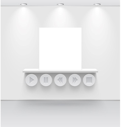 White room with shelf and media interface vector