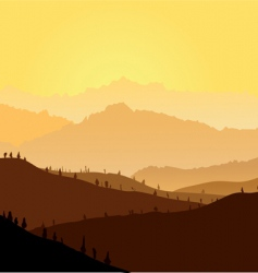 Yellow mountains in a fog vector