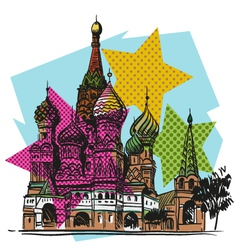 Moscow saint basils cathedral drawing vector