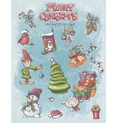 Set of christmas and new year festive items and vector