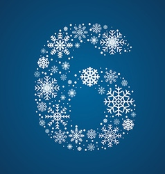 Number 6 font frosty snowflakes vector