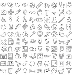 One hundred thin line icons set vector