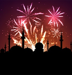 Mosque silhouette on fireworks vector