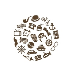 Vintage objects icons in circle vector