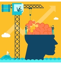 Man with brain puzzle creative concept background vector