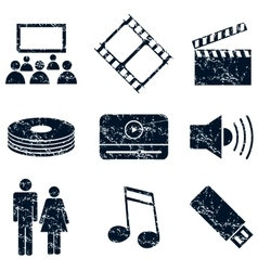 Media entertainment icons set grunge vector