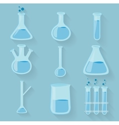 Laboratory chemical bottles glassware vector