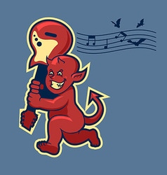Red devil boy swingin guitar in retro color vector