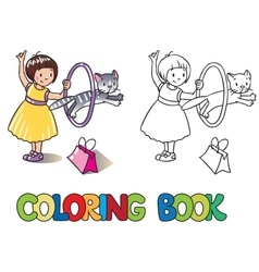 Girl playing with cat Coloring book vector image