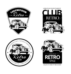 Classic muscle car labels emblems and vector image