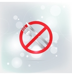 Knife and fork prohibition forbidden red symbols vector