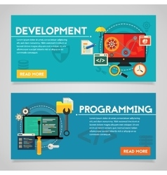 Programming and graphic design concept banners vector
