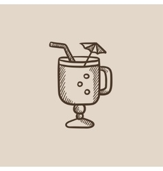 Glass with drinking straw and umbrella sketch icon vector