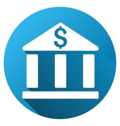 Bank Building Gradient Round Icon vector image