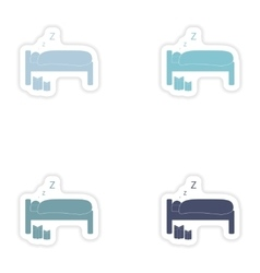 Set of paper stickers on white background sleeping vector image