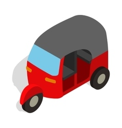 Red tuk tuk icon in isometric 3d style vector