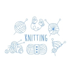 Knitting Related Icon Set With Text vector image