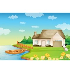 A house on the bank vector