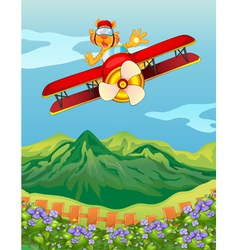 A tiger riding in an airplane vector image