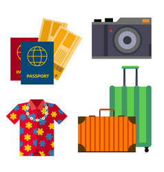 airport travel sight accessory icons flat tourism vector image vector image