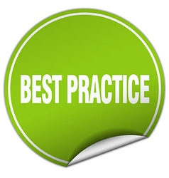 Best practice round green sticker isolated on vector