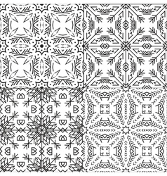 Black and White Textile Patterns Set vector image