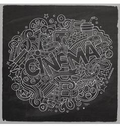 Cartoon cute doodles hand drawn cinema inscription vector