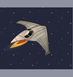cartoon of flying spaceship in starry vector image