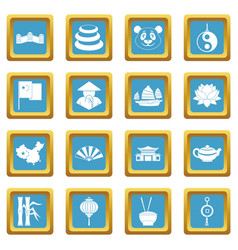 China travel symbols icons azure vector