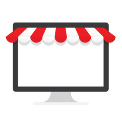 computer monitor with red awning vector image vector image