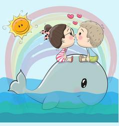 Cute cartoon boy and girl are kissing vector
