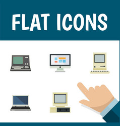 flat icon computer set of display technology vector image