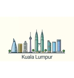 Flat line Kuala Lumpur banner vector image