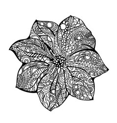 Flower black white hand drawn vector