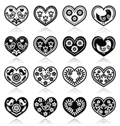 Folk hearts with flowers and birds icons set vector image