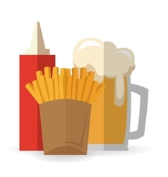 French fries and beer design vector