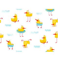 Fun childish yellow ducky seamless pattern cartoon vector